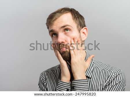 Man horror/ what a nightmare - stock photo