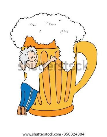 man hugging a mug of beer, cartoon illustration - stock photo