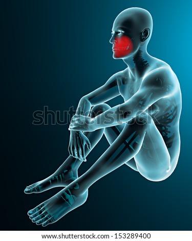 Man human body x-ray jaw teeth pain - stock photo