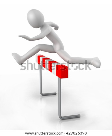 Man icon jumping over the barrier - 3D illustration