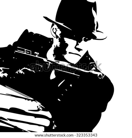 man in a black suit and a hat with a gun in his hand