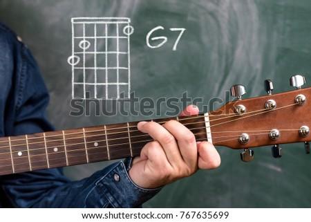 Man Blue Denim Shirt Playing Guitar Stock Photo 767635699 - Shutterstock