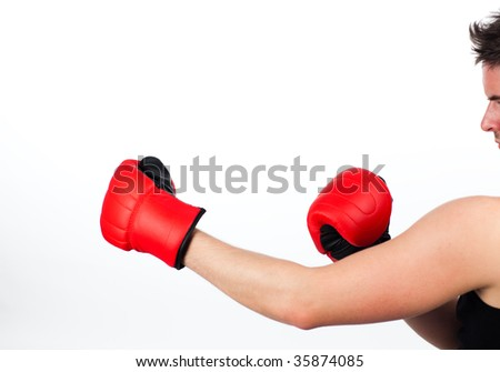 Man in a boxing fight isolated against a white background