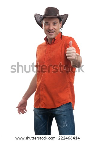 man in a cowboy hat isolated on white background