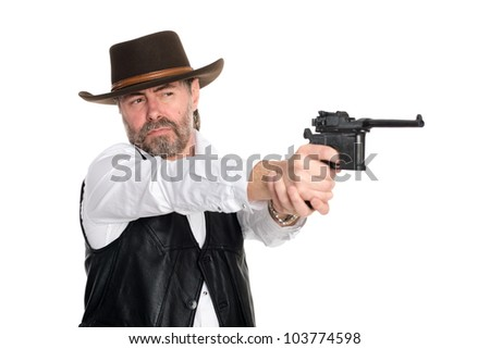 Man in a cowboy hat shot from a pistol. - stock photo