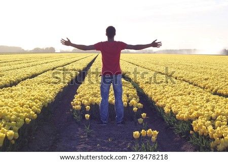 Man in a field - stock photo