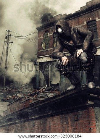 Man in a gas mask on the roof of a ruined building
