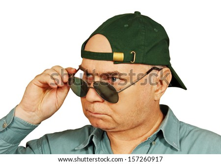 man in a green baseball cap and sunglasses closeup photo on a white background.