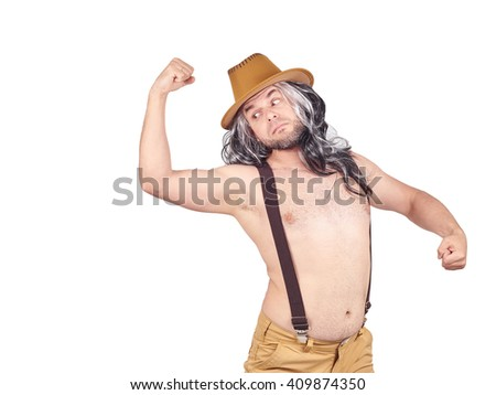 man in a hat shows muscles. Isolated on a white background. - stock photo