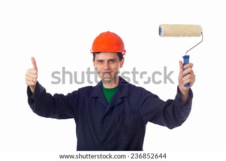 man in a helmet and  blue robe holding roller for painting, show thumb