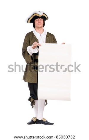 Man in a historical costume with the decree. Isolated on white