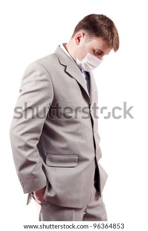 man in a mask on a white background