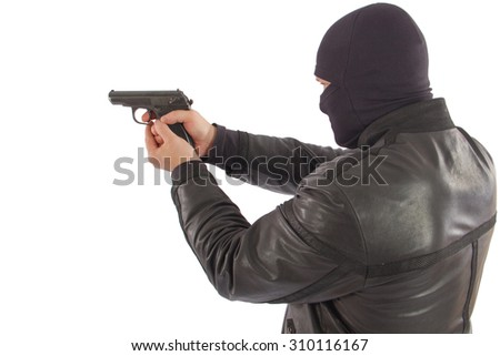 man in a mask with a gun isolated on white background