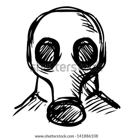 Man in a respirator - stock photo