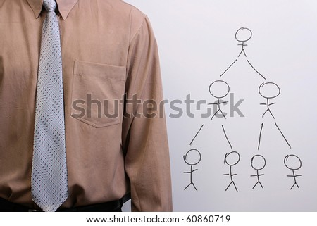 Man in a shirt and a tie explaining human hierarchy and creative collaboration. - stock photo