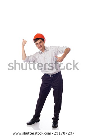 Man in a shirt in orange construction helmet, thumbs up; isolated Background