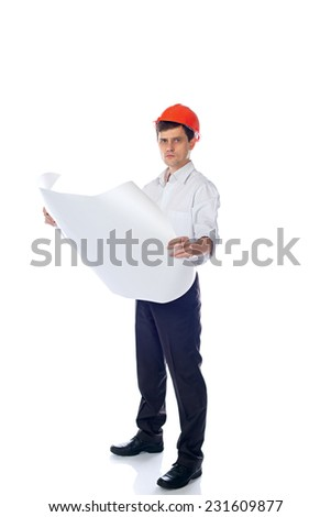 man in a shirt in orange construction helmet with a paper sheet in hand; isolate background