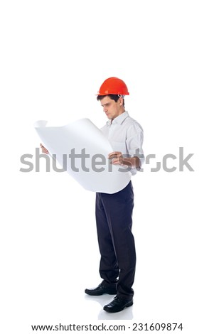 man in a shirt in orange construction helmet with blueprints in hand; isolate background