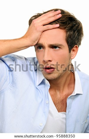 man in a state of shock - stock photo