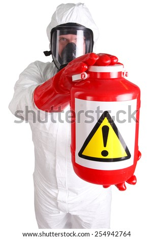 Man in a suit of chemical protection isolated on white - stock photo