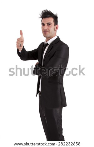 man in a suit with symbol ok