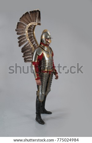 Man in armor of hussar legion posing on gray background
