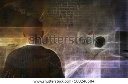 Man in artistic landscape - stock photo
