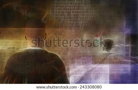Man in artistic landscape - stock photo