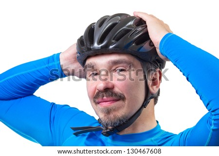 Man in bicycle helmet. Studio shot isolated on white background. - stock photo