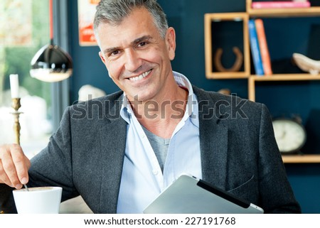 man in bistro - stock photo