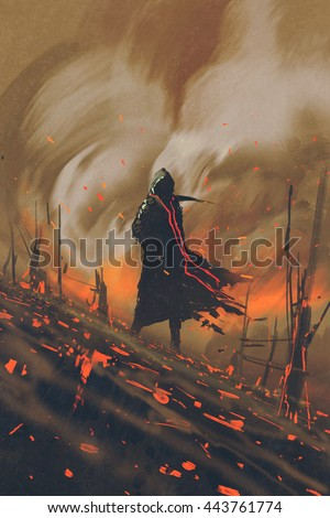 man in black cloak standing against burning forest,illustration painting - stock photo