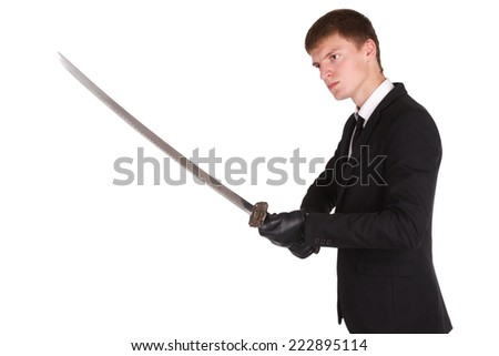 man in black costume and katana sword isolated on white