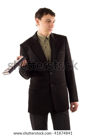 man in black suit on white isolated
