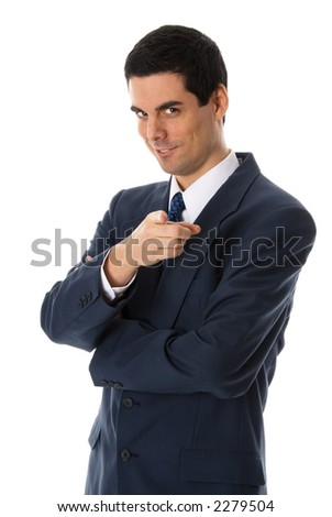 man in blue suit pointing a finger at camera