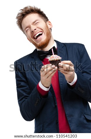 Man in blue suit with bow tie, isolated on white
