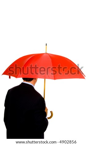 Man in business attire or suit holding a red umbrella against white background
