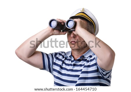 Man in captain cap looking through a binocular. isolated over white background.