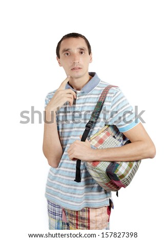 Man in casual style with backpack against white