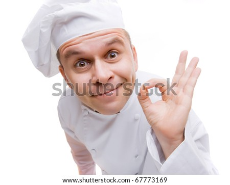 Man in chef's uniform isolated on white background - stock photo
