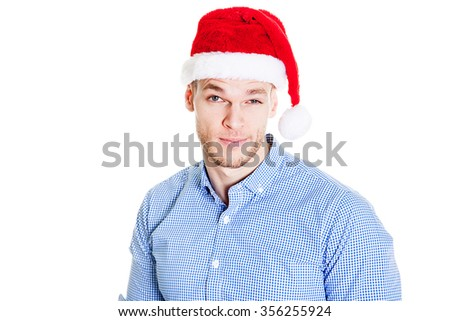 Man in christmas hat, isolated on white