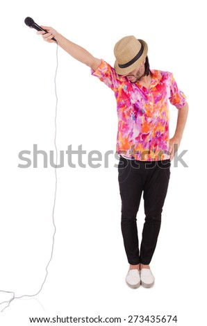 Man in colourful shirt isolated on white - stock photo