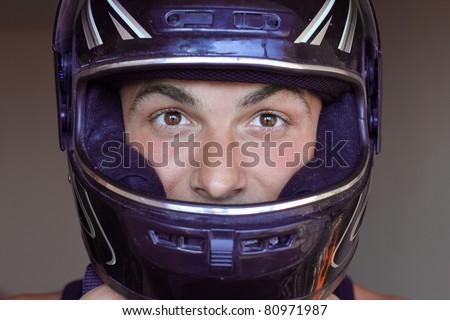 man in crash helmet motor - stock photo