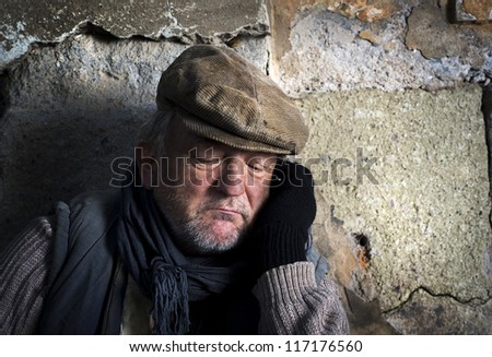 Man in depression - stock photo