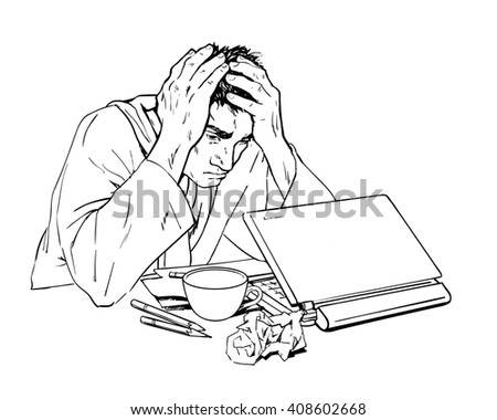 Man in depression. The crisis in the country and life. Bad feeling. The patients condition. Stress at work, at home, in family. Of bankruptcy. The loss of meaning in life. Painted man with a laptop.  - stock photo