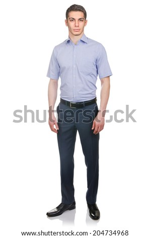 Man in fashion look isolated on white - stock photo