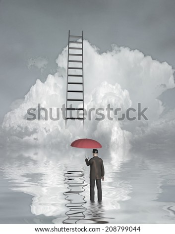 Man in flood with ladder above - stock photo