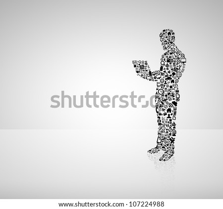 man in form of media icon holding notebook - stock photo