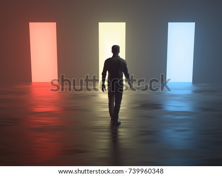man in front of different open doors, 3d illustration