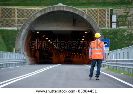 man in front to tunnel - stock photo
