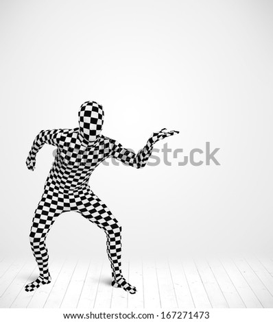 man in full body suit presenting your product over white background